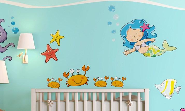 Stickers murali bambini cameretta tra i coralli leostickers - Decorazioni stencil murali ...